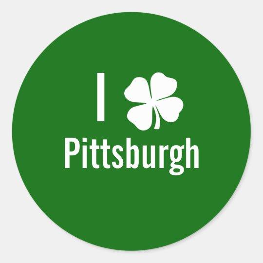 I love (shamrock) Pittsburgh St Patricks Day Classic Round Sticker