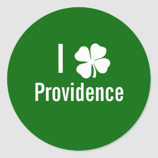 I love (shamrock) Providence St Patricks Day Classic Round Sticker