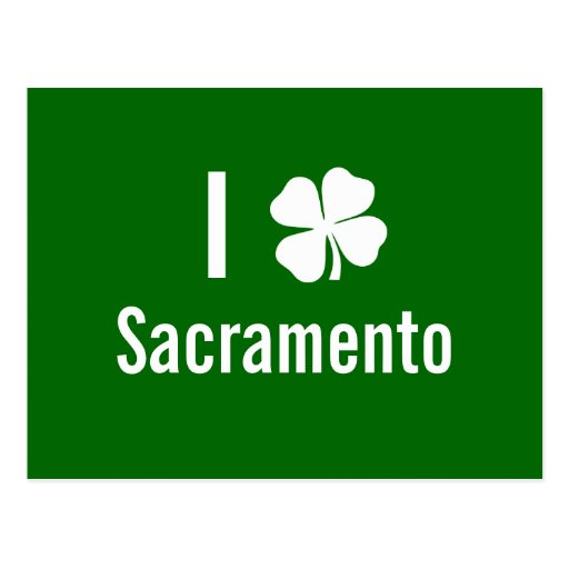 I love (shamrock) Sacramento St Patricks Day Postcard