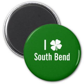 I love (shamrock) South Bend St Patricks Day 2 Inch Round Magnet