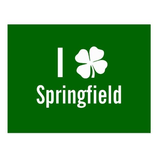 I love (shamrock) Springfield St Patricks Day Post Card