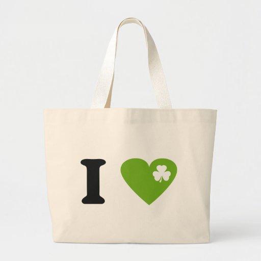 I love shamrock St. Patricks Day icon Large Tote Bag