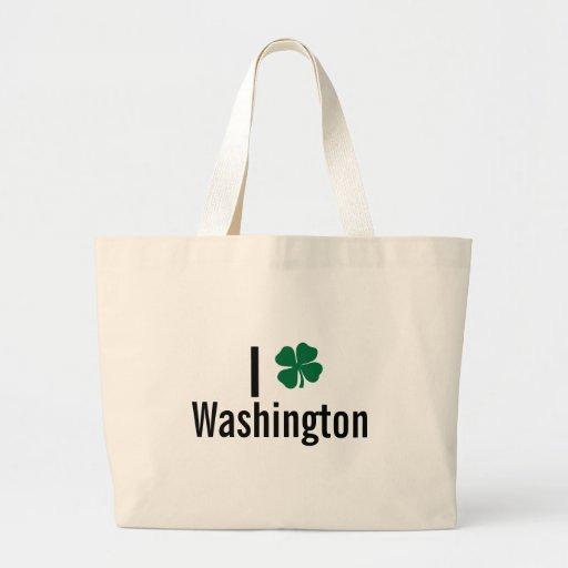I love (shamrock) Washington St Patricks Day Bags