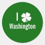 I love (shamrock) Washington St Patricks Day Round Sticker