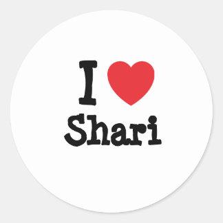 I love Shari heart T-Shirt Round Stickers