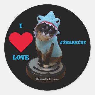 I ♥ Love Shark Cat Sticker #SharkCat