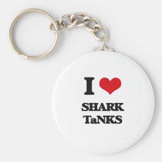 I love Shark Tanks Basic Round Button Keychain