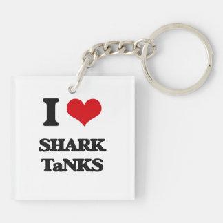 I love Shark Tanks Double-Sided Square Acrylic Keychain