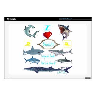 "i love sharks 17"" laptop skin"