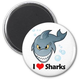 I Love Sharks 2 Inch Round Magnet
