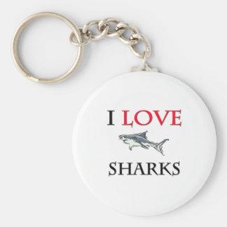 I Love Sharks Basic Round Button Keychain