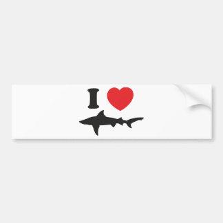 I Love Sharks Car Bumper Sticker