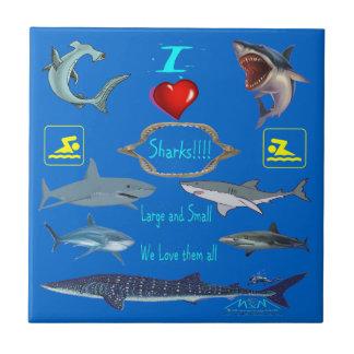 i love sharks ceramic tile