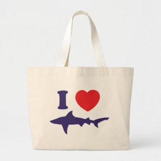I Love Sharks Large Tote Bag