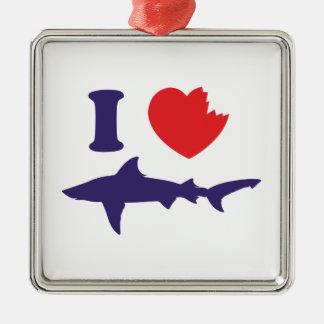 I Love Sharks Metal Ornament