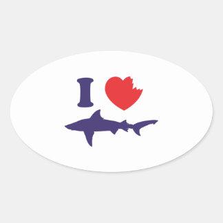 I Love Sharks Oval Sticker