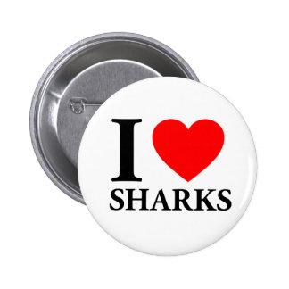 I Love Sharks Pinback Button