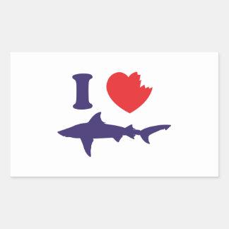I Love Sharks Rectangular Sticker