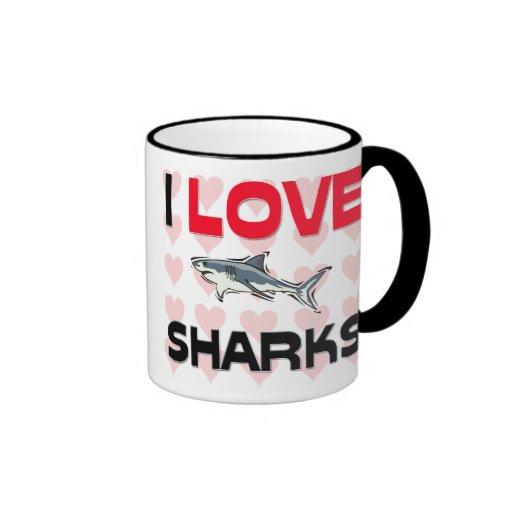 I Love Sharks Ringer Coffee Mug