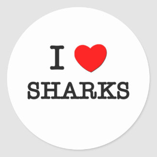 I Love SHARKS Round Stickers