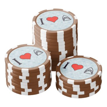 Valentines Themed I Love Sharks Set Of Poker Chips