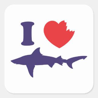 I Love Sharks Square Sticker