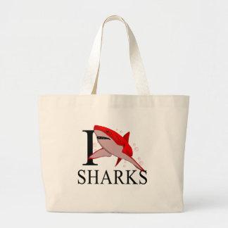 I Love Sharks Tote Bags