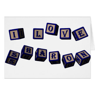 I love Sharon toy blocks in blue. Great gift for l Card