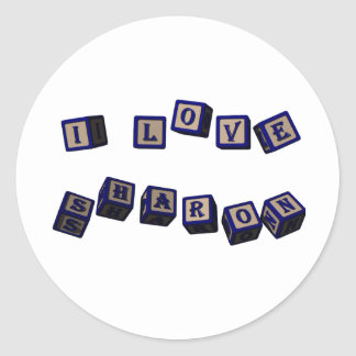 I love Sharon toy blocks in blue. Great gift for l Classic Round Sticker