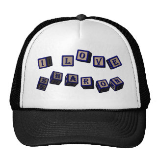 I love Sharon toy blocks in blue. Great gift for l Trucker Hat