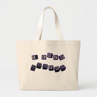 I love Sharon toy blocks in blue. Great gift for l Large Tote Bag