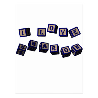 I love Sharon toy blocks in blue. Great gift for l Postcard