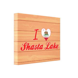 I Love Shasta Lake, California Stretched Canvas Print