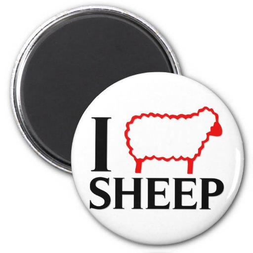 I Love Sheep 2 Inch Round Magnet
