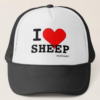 I Love Sheep (as friends) Big Red Heart Trucker Hat