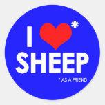 I Love * Sheep Round Sticker