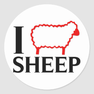 I Love Sheep Round Stickers