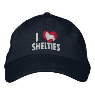 I Love Shelties Dark Embroidered Baseball Hat