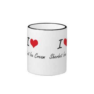I Love Sherbet Ice Cream artistic design Ringer Coffee Mug