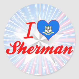 I Love Sherman, Connecticut Round Stickers