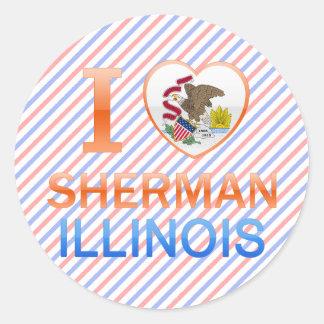 I Love Sherman, IL Round Sticker