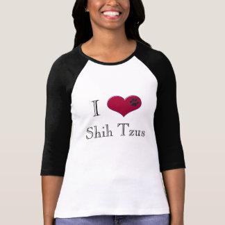 I Love Shih Tzus Black Ladies T-Shirt