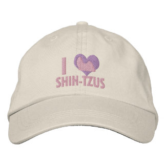 I Love Shih Tzus Pink Embroidered Hat