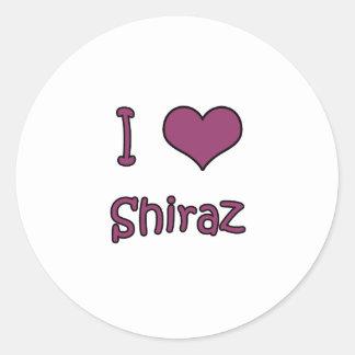 I Love Shiraz Round Stickers