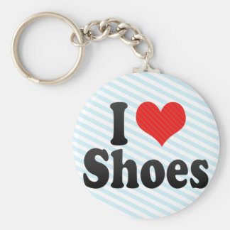I Love Shoes Basic Round Button Keychain