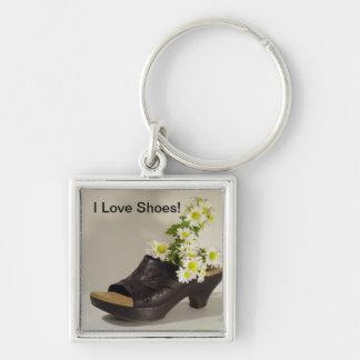 I Love Shoes flowers Keychain