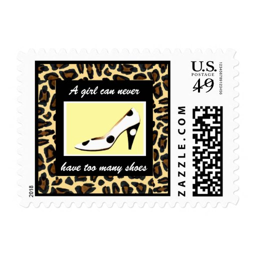 I Love Shoes Leopard Fur Fashion Postage Stamp