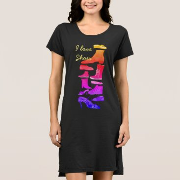 Beach Themed I Love Shoes Neon Bright Colorful Cartoon Black Dress