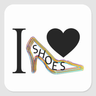 I love shoes square sticker
