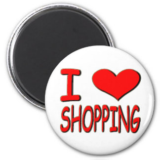 i love shopping 2 inch round magnet